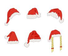 Vector Cartoon Santa Hats, Chr...