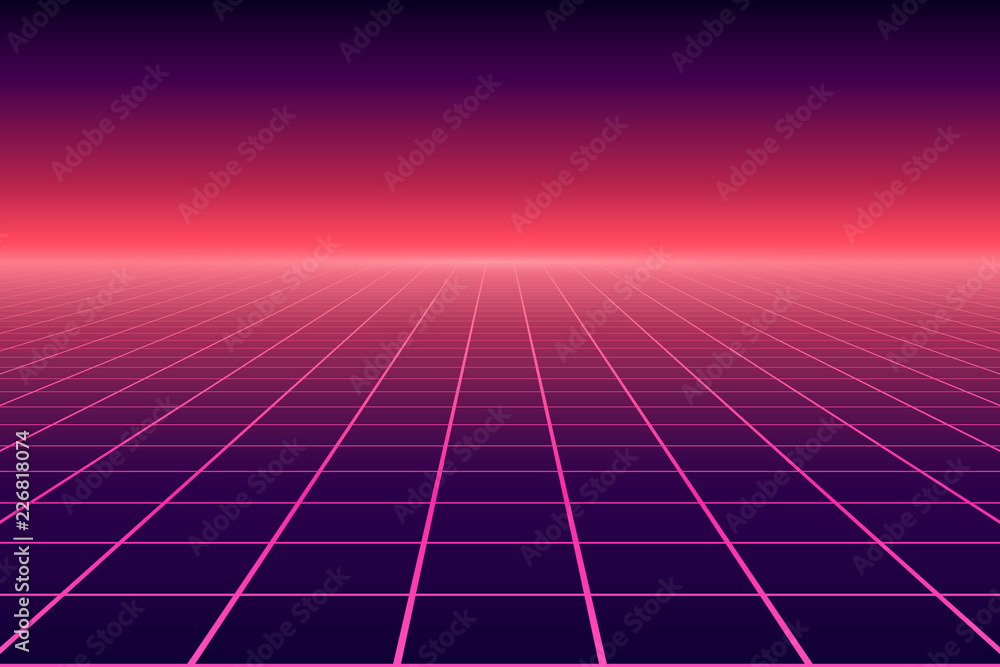 Fototapety, obrazy: Vector perspective grid. Abstract retro background in 80s style.