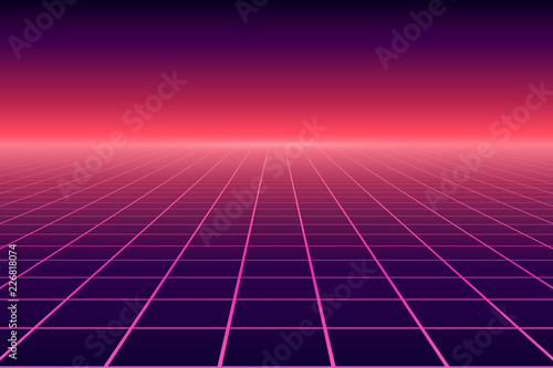 Canvastavla Vector perspective grid. Abstract retro background in 80s style.