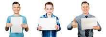 Set Of Portraits Of Young People Holding Blank A4 With Copy Space Isolated On A White Background.