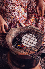 Roasting Khao Kriab Or Rice Flour Local Snack Of Ban Nam Chiao, Trat, Thailand Street Food