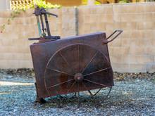 Vintage Rusty Mining Or Farming Cart.
