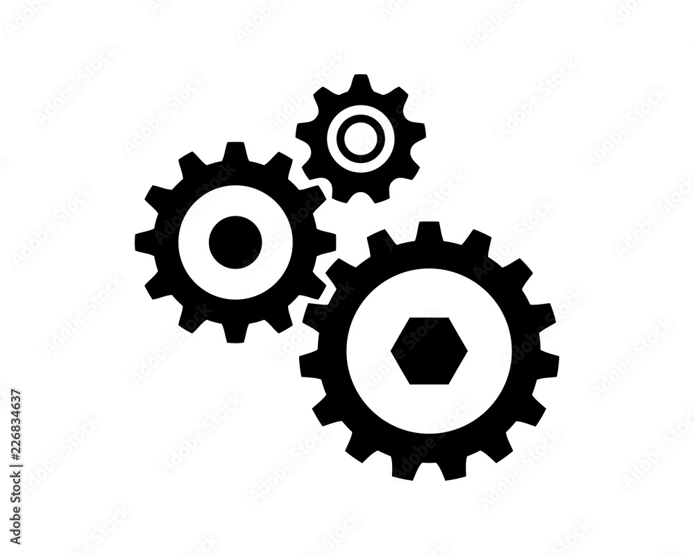 Fototapety, obrazy: Connection of Gear Machine Template Sign Symbol Icon Logo Vector