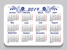 New Year 2019 Pocket Calendar Modern Design With A Blue Ethnic Gzhel Pattern. Holiday Event Planner In English Language. Week Starts Monday