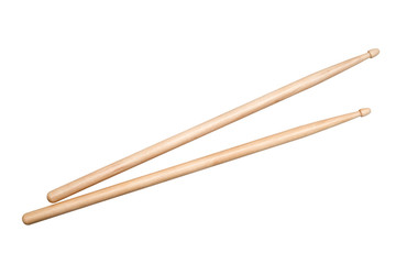 two drumsticks on white background