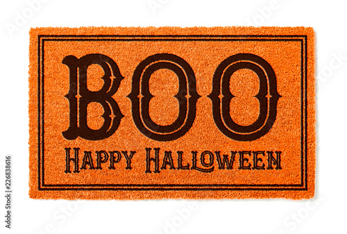 Fotografie, Obraz  Boo, Happy Halloween Orange Welcome Mat Isolated on White Background
