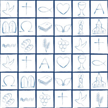Blue Christian Symbols Pattern On A Checkerboard White Background With Blue Frame. Repeatable