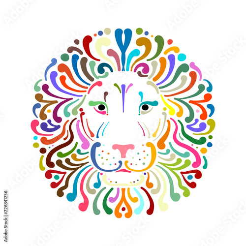 Fototapeta premium Lion face logo colorful, sketch for your design