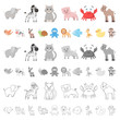 An unrealistic cartoon animal icons in set collection for design. Toy animals vector symbol stock web illustration.