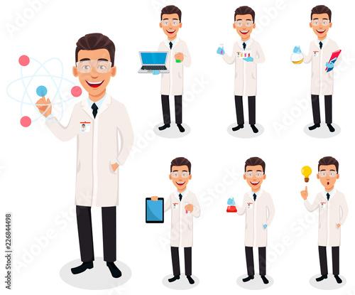 Fotografía  Scientist man. Handsome cartoon character