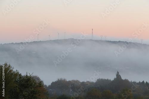 Fotografie, Obraz  Campagne sous la brume au lever du soleil en Bretagne