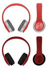 Red Headphones. Vector Illustr...