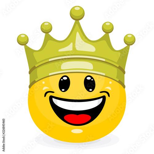 Cute emoticon in gold king crown Fototapeta