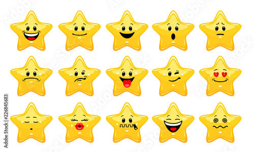 Vector set of star emoticons Fototapeta