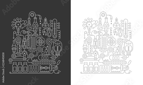 Poster Abstractie Art Research Laboratory Equipment vector illustration