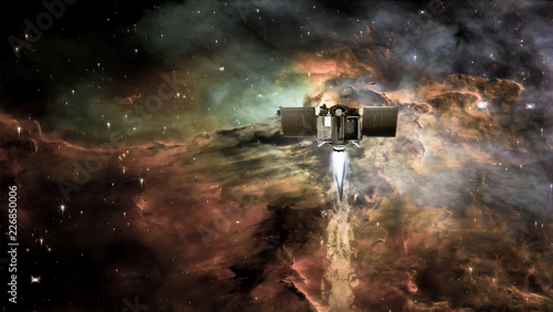Spacecraft in a deep space on a background of nebula clouds and galaxy star. The elements of this image furnished by NASA.