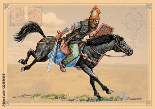 Fotografiet Celtic cavalryman. Historical illustration. Ancient warrior.