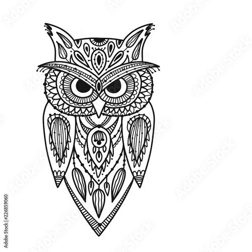 Poster Uilen cartoon Ornate owl, zenart for your design