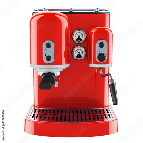 Billede på lærred Red coffeemaker or coffee machine retro design. 3D rendering