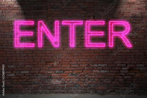 Fotografía  ENTER Neon Letterin on Brick Wall