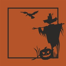 Happy Halloween Vector Illustration. Holiday Postcard With Scarecrow And Pumpkin For Banner, Poster, Greeting Card, Party Invitation.