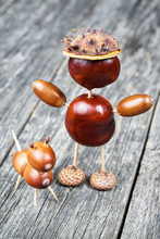 Small Creature Made Of Chestnuts And Acorns. Autumnal Decoration