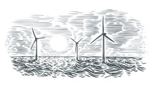 Offshore Wind Turbines Illustration. Vector, Isolated.