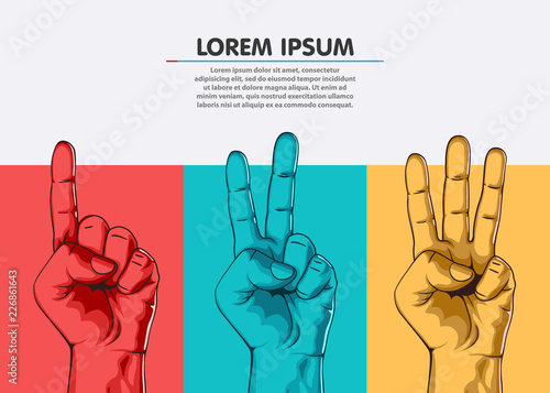 Set of counting one two three hand sign. Three steps or options concept. Vector illustration - fototapety na wymiar