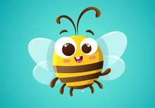 Cute Bee Character Cartoon Isolated On Blue Green Background. Vector Illustration.