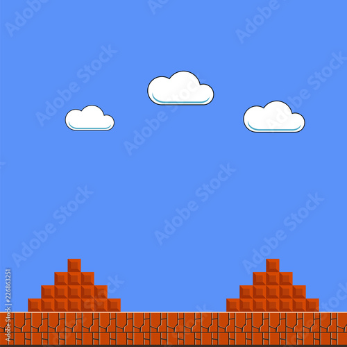 Photo  Old Game Background. Classic Arcade Design with Clouds and Brick