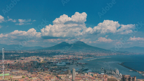 In de dag Napels Aerial view of the city of Naples, Italy and Mount Vesuvius