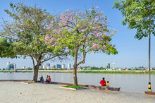 Preah Sisowath Quay, A Public Promenade On The Bank Of The Mekong River In Phnom Penh