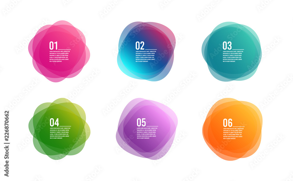Fototapeta Infographic timeline 6 steps. Colorful 6 options round banners. Overlay colors shape art design. Abstract style spots. Graphic tag element for advertisements or printing. Business infographic. Vector