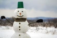Portrait Of White Happy Snowma...
