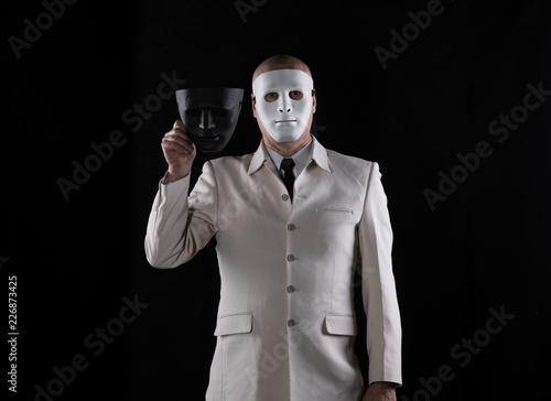 man in a strange white mask halloween
