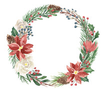 Watercolor Winter Wreath