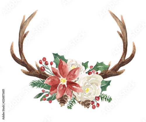 Fotografie, Obraz  Watercolor Winter Wreath with Antlers