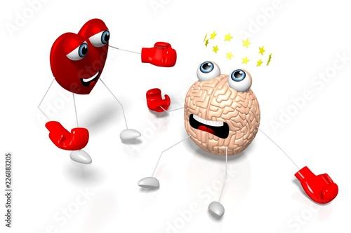 Fotografie, Obraz  3D heart and brain cartoon characters - boxing, fight