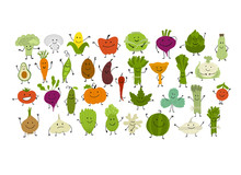 Funny Smiling Vegetables And Greens, Characters For Your Design