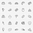 Bakery line icon set with ice cream, cookie and pie