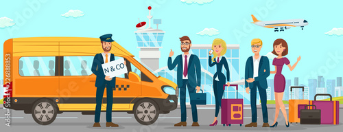 Fototapeta Taxi Services in Airport. Vector Flat Illustration