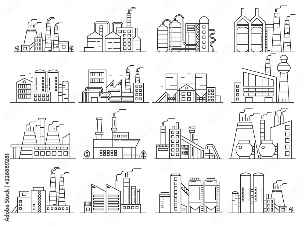 Fototapeta Factory building line style set. Indistrial construction and commercial architecture outline stroke set.