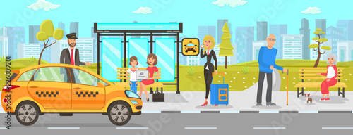 Billede på lærred Taxi and Driver Services. Vector Flat Illustration