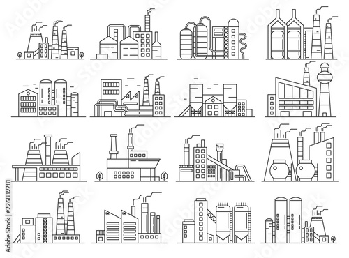 Fototapeta Factory building line style set. Indistrial construction and commercial architecture outline stroke set. obraz