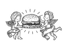 Angel With Hamburger Engraving Vector Illustration. Scratch Board Style Imitation. Black And White Hand Drawn Image.