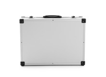 Modern Silver Suitcase On White Background