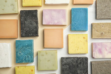 Hand Made Soap Bars On Color Background, Top View