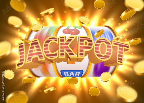 Foto  Golden slot machine with flying golden coins wins the jackpot