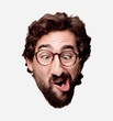 young crazy bearded man cutout head expression isolated. hipster role with view glasses. joking concept