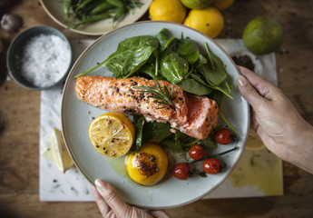 Fototapeta Grilled salmon food photography recipe idea